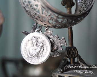 French Holy Ladies--Vintage Silver Filigree Bangle Vintage French Holy Medals BANGLE BRACELET