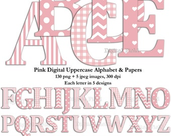 Pink uppercase alphabet clip art set & digital scrapbooking paper- printable digital letters - instant download