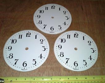 3 Ceramic clock faces craft work clock dials
