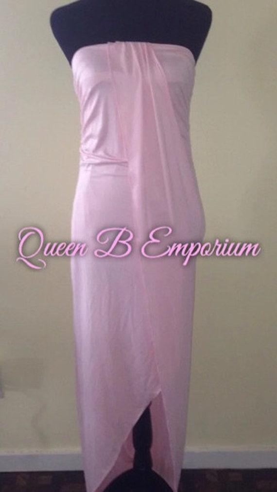 Classy Pink Empire Waisted Cascading Evening Maxi Dress