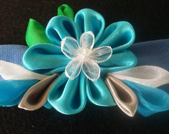 Handmade DF courture Kanzashi Hair ornament mounted to stretch headband