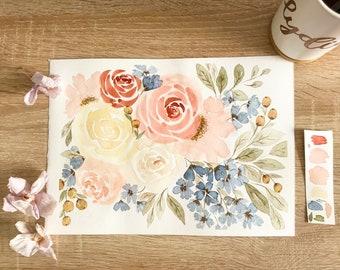 A4 Rose Blossoms Watercolour Print