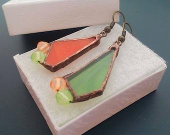 Stained glass earrings, art jewelry, orange green earrings, statement jewelry, gift for women, copper wire earrings, Sparkle