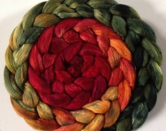 Hand dyed roving 3.5 ozs Pohutakawa pre- order