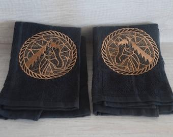 Horse Embroidered Kitchen Towel Set (2)