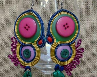 soutache earrings, colourful earrings, hyppie style, button earrings
