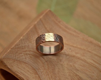 Mens promise ring, mixed metal wild texture, Copper Brass hammered band, for his and her,alternative grooms ring, Viking wedding,Pagan style
