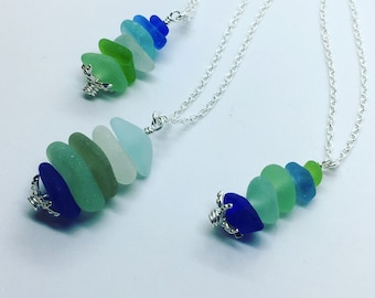 Starfish Stacker-One of a Kind, Genuine Sea Glass Necklace, Solid Sterling Silver, Beach Glass Pendant