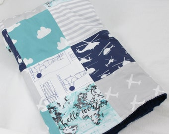 Turquoise, Grey, Navy and White Patchwork Blanket with Navy Minky Dot Backing - Hello World, Airplanes, Helicopters - Traveler Theme