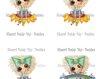 Instant Download Jancoloredprintablebk7 3D Decoupage kit Besties Big Head Dolls Digi By Sherri Baldy