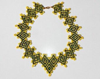 Lemon Yellow and Emerald Green Hand Beaded Necklace Greek Key Design