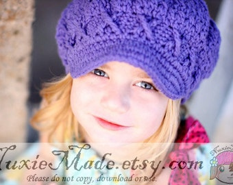 Newsboy Hat, 2T-4T Toddler, Kids Hat, Crochet Hat, Newsgirl Hat, Apple Cap, Childrens Hat, Purple Hat, Hat with Brim, Girl Hat, winter hat