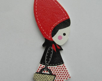 Wooden Girl Little Red Riding Hood pendant, 90mm x 29mm