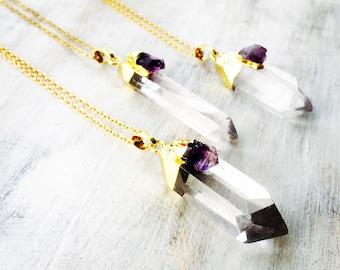 Quartz and Amerthyst Point Necklace, Gemstone Pendant, Druzy Slice, Gold Electoformed, Gold Gem Necklace, Quartz Necklace, Crystal Necklace