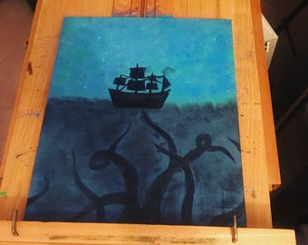 Sea monster and ship painting