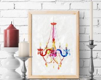 Chandelier Print | Watercolor Chandelier Printable | Chandelier Wall Art | Nursery Chandelier Printable | Girly Bedroom | Pink Chandelier