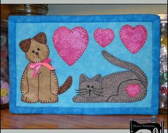 PDF Pattern for Cat & Dog Mug Rug, Dog Mug Rug Pattern, Cat Mug Rug Pattern, Mini Quilt Pattern - Sewing Pattern, Tutorial, DIY
