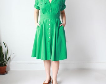 vintage plus size dress | green plus size shirt dress, US size 14