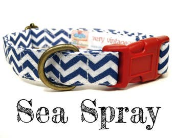 "Blue White Nautical Chevron Boy Dog Collar - Organic Cotton - Antique Metal Hardware - ""Sea Spray"""