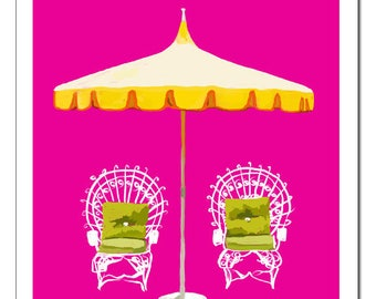 Palm Springs Umbrella and Chairs-Pop Art