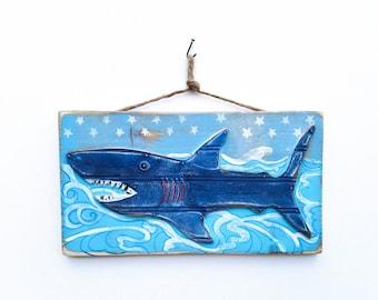 Personalize This Original Art Item-Shark Decor Beach Art Shark Kids Room Beach Decor Shark Nursery Shark Mangoseed