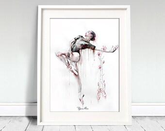 Ballerina watercolor art print. Wall art, wall decor, digital print. Lîlîṯ /Lilith