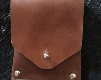 Vertical Two Slot Leather Fold Over Wallet
