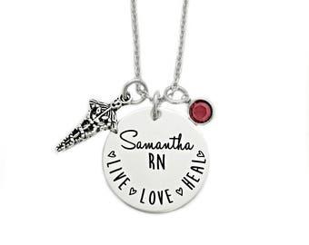 Personalized RN Nurse Necklace - Nurse Gift - Nursing Graduation - Engraved Jewelry - RN Necklace - Live Love Heal - Nurse - LPN - 1158