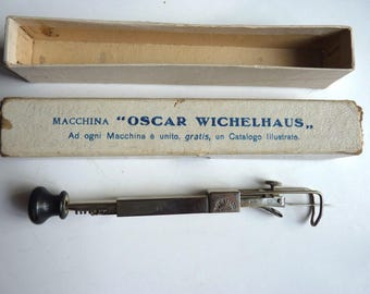 Oscar Wichelhaus Milano Italia machine embroidery, vintage 20s, chrome, metal
