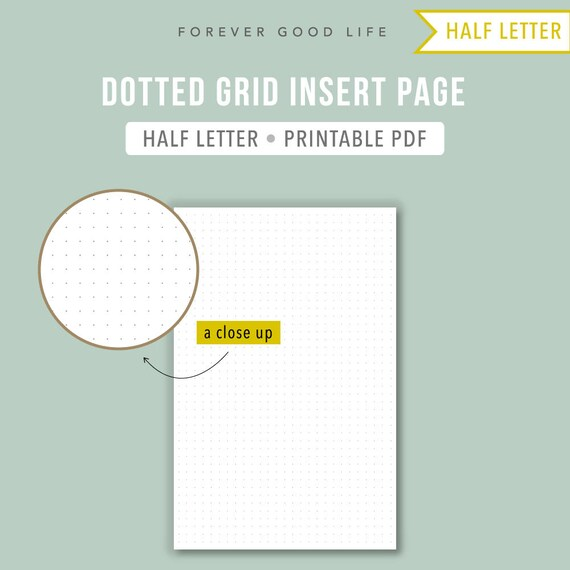 PRINTABLE Half letter dot grid Bullet journal template BuJo