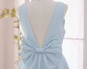 SALE Medium size blue bridesmaid dresses Serenity blue backless dress bow back dress Satin party dress blue party dress prom dress serenity