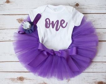 1st Birthday outfit 'Violet' purple tutu set one birthday outfit 12 month tutu set 1st birthday girl outfit purple birthday outfit girl