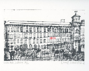 SALTS MILL PRINT, Saltaire Screenprint, Yorkshire Original Art, Handmade Print, Signed Limited Edition Hand Pulled Print, Clare Caulfield