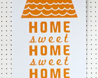 SALE New Home Words Graphic Typography Print Poster Mustard Yellow White A3