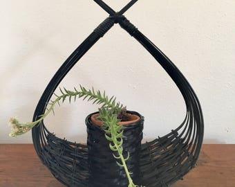 Vintage Hanging Plant Basket, Wicker Plant Holder, Black Boho Modern, Plant Basket