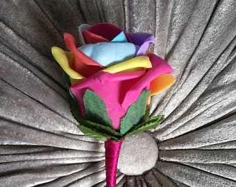 Artificial Rainbow Rose Buttonhole/Boutonniere with Cerise/Hot PInk Satin Ribbon, Groom, Bestman, Groomsmen, Ring bearer, Wedding guests