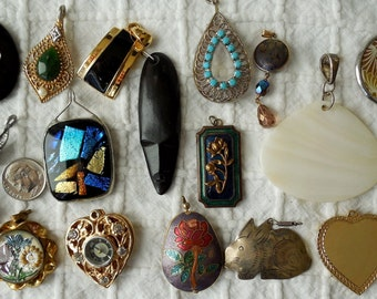 18 pc Destash Lot Vintage Pendants Charms & Bits for Crafting