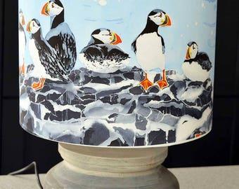 Farne Island Puffins Lampshade - puffin lamp shade, bird lover gift, bird lover lampshade, seabird lampshade, bird lover gift, twitcher gift
