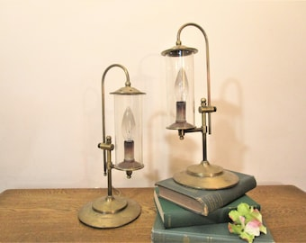 Pair of Solid Brass Table Lamps - Brass Candlestick Lamps with Glass Chimney - Brass Accent Lamps - Desk Lamps - Mantle Lamps - Buffet Lamps