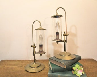 Pair Of Solid Brass Table Lamps   Brass Candlestick Lamps With Glass  Chimney   Brass Accent