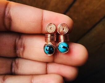 Loc Jewelry Dreadlock Coil 2pc Turquoise/Black Bead
