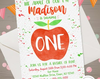 Apple Birthday Invitation Of Our Eye Fall Invitations Picking Orchard Invite Autumn 1st Girl