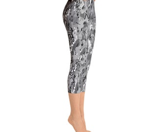 Gray Camouflage Capri Leggings