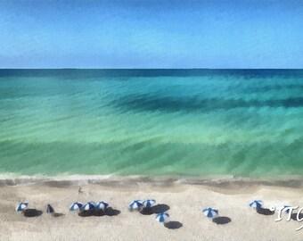 """Blue & White Umbrellas On The Beach. 24"""" x 30"""""""