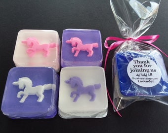 UNICORN - Party Favors, 12 Soaps, Custom Labels, Any color, DIY bags and ribbons