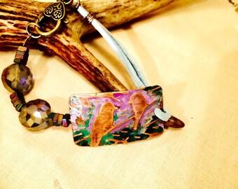 Birds Among the Lilacs Bracelet: Vintaj  copper bracelet, embossed bracelet, patina birds bracelet. Mixed media bracelet. Eclectic, artisan