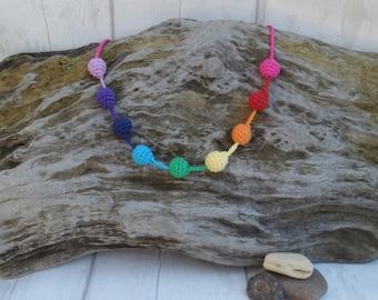"Crochet Chunky Necklace, Rainbow Ball Pendant, Textile Jewellery, Wearable Art Piece, Woolen Fiber Beads, LGBT Gay Pride, OOAK 14"""