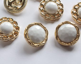 White and Gold Buttons