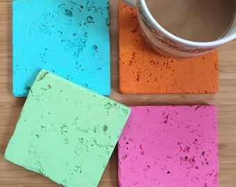 Hand Painted Neon Coasters // Travertine Coasters // Painted Coasters
