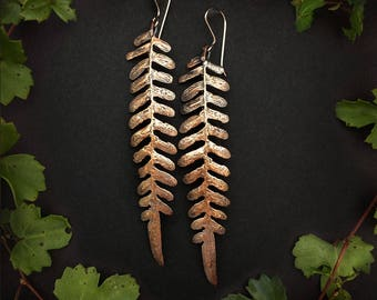 Bronze Fern Leaflet Earrings, made by hand by Jamie Spinello